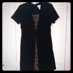 👗NEW👗VTG short sleeve leopard/black pinup dress